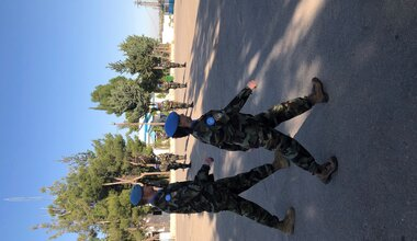 A/FC Brig Gen M O Brien arrives on parade