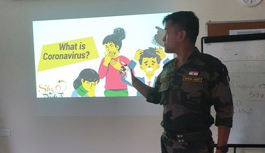 FHO, UNDOF, Maj ACH BORUAH speaking on preparedness against Corona Virus outbreak on 5th Mar 2020