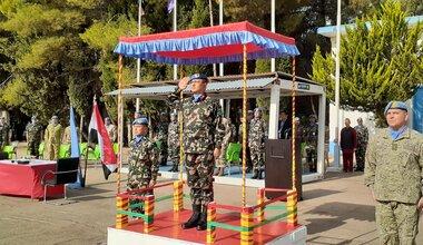 HoM & FC Maj Gen Ishwar Hamal Saluting the Honor Guard