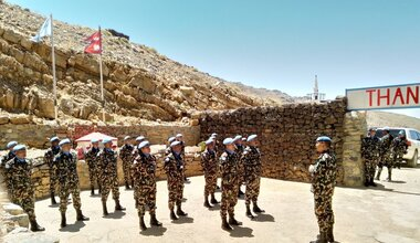 HoM/FC Major General Ishwar Hamal Addressing NEPCON Troops at Hermon Base.