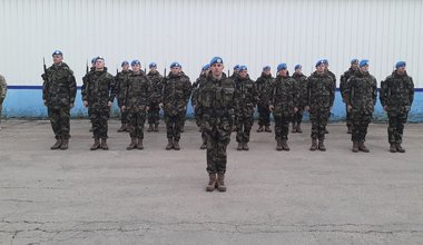 Guard of Honor from FRC ready to salute the General Feola Paz, Uruguayan Army General on 10th Feb 2020