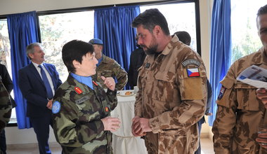 A/FC Brig Gen M O Brien meets with guests during Diplomats Day 2020
