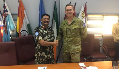 Major General Shivaram Karil Head of Mission and Force Commander of UNDOF welcomes Colonel Scott D COS UNTSO to UNDOF