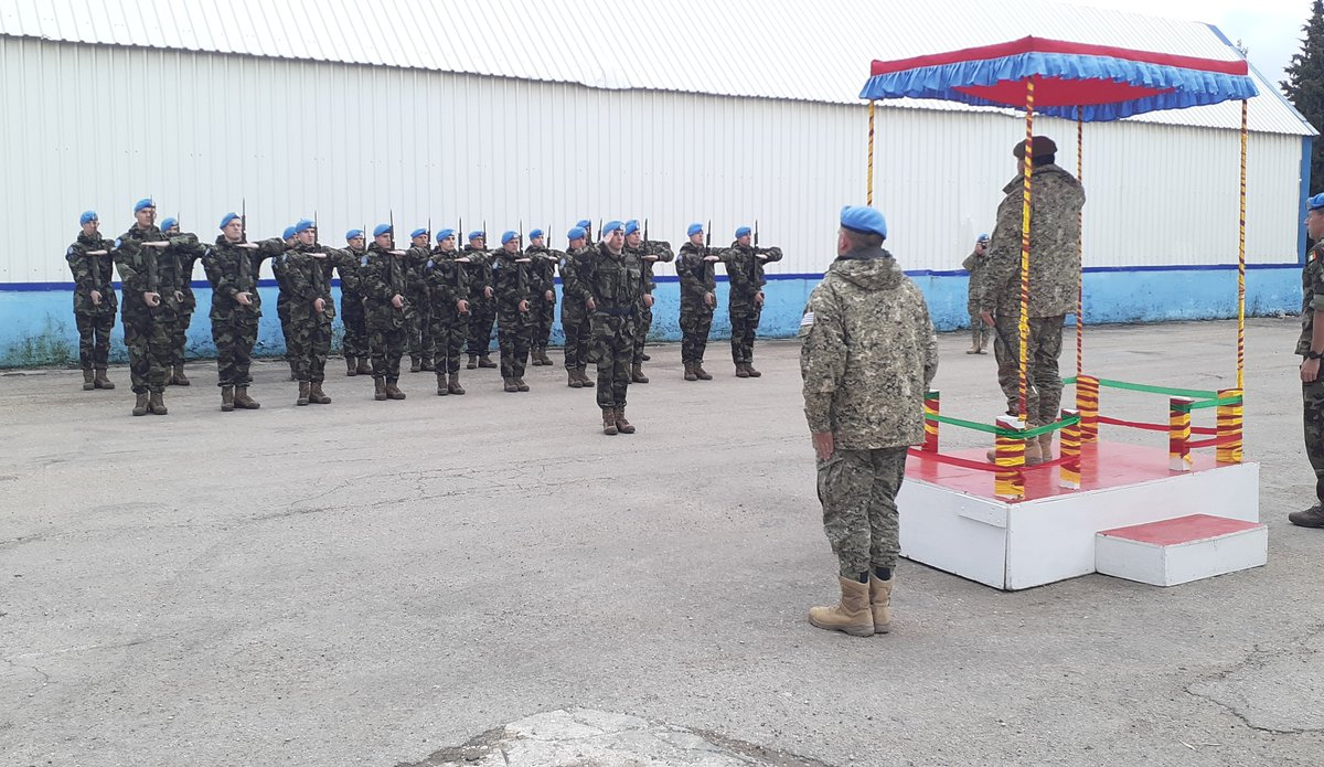 Guard of Honor from FRC Saluting the General Feola Paz, Uruguayan Army.