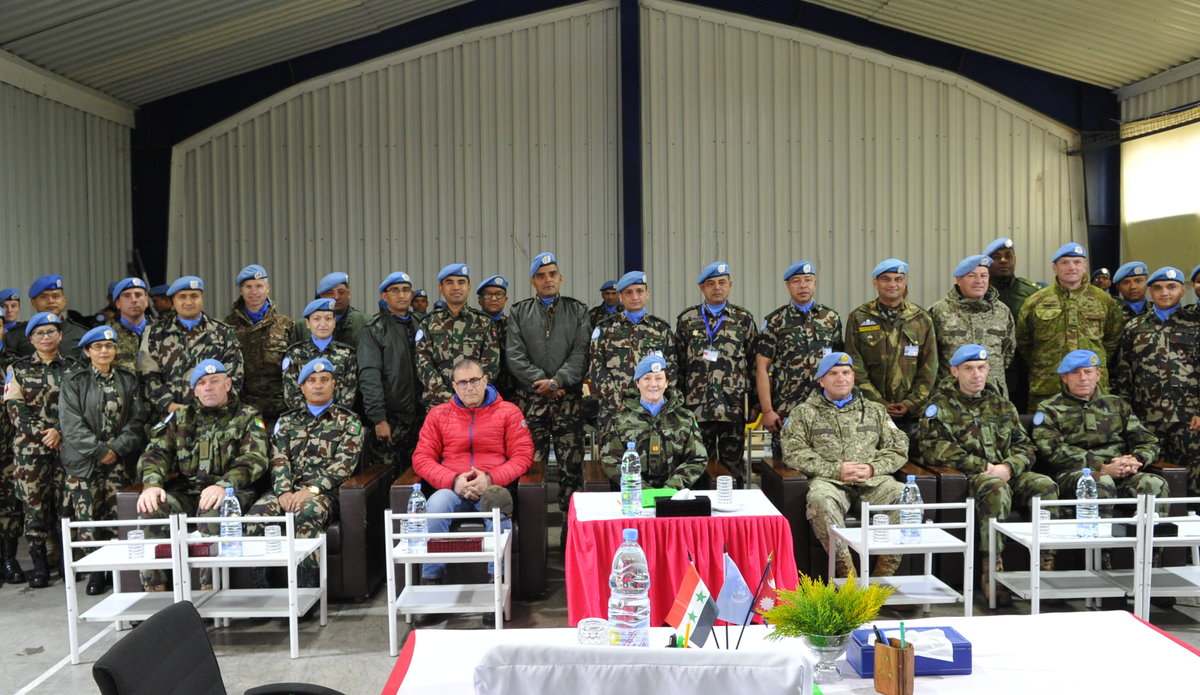 A/FC BRIG GEN MAUREEN O'BRIEN ATTENDING HOTO CEREMONY BETWEEN NMC COMMANDERS ALONG WITH UNDOF MEMBERS
