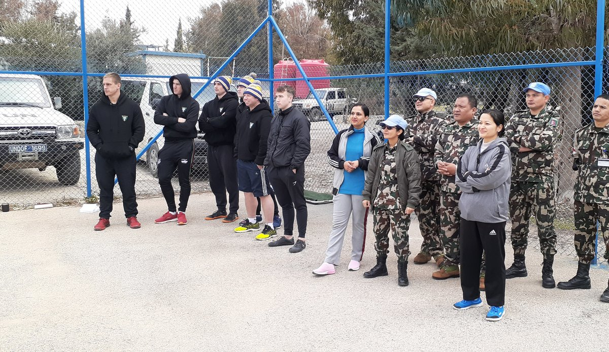 Spectators from Force Reserve Company (FRC) and Level 1+ Hospital enjoying final match between NMC and Fiji Batt