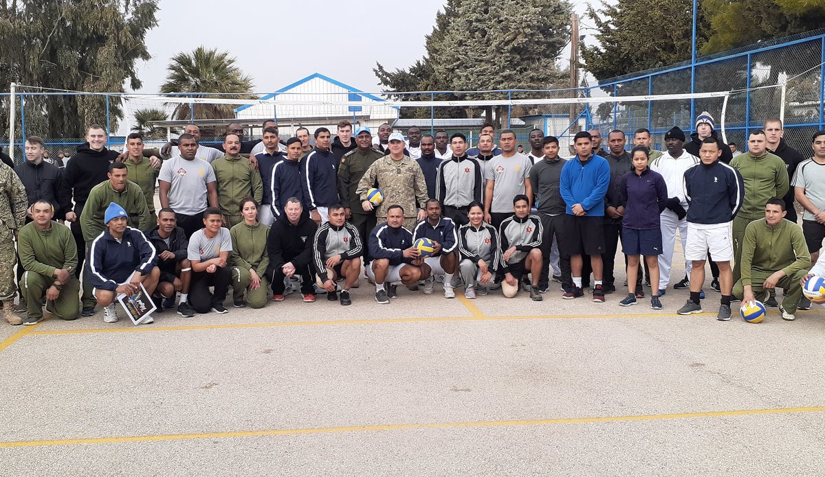 UNDOF Chief of Staff Col Martin Alvarez with the participating team members during Opening Ceremony