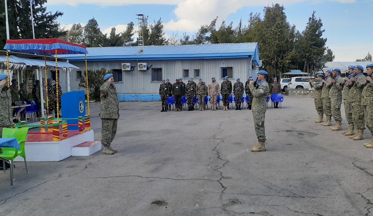 Honour Guard Renders Salute to COS Col Luis Coitino Valerio Outgoing Chief Of Staff