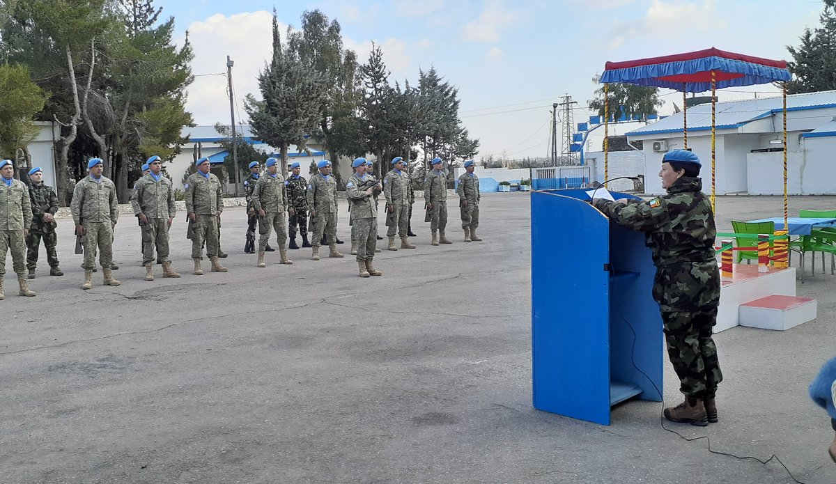 A/FC Brig Gen M O Brien addresses the parade on the occasion of the Stand down and HOTO ceremony of COS UNDOF