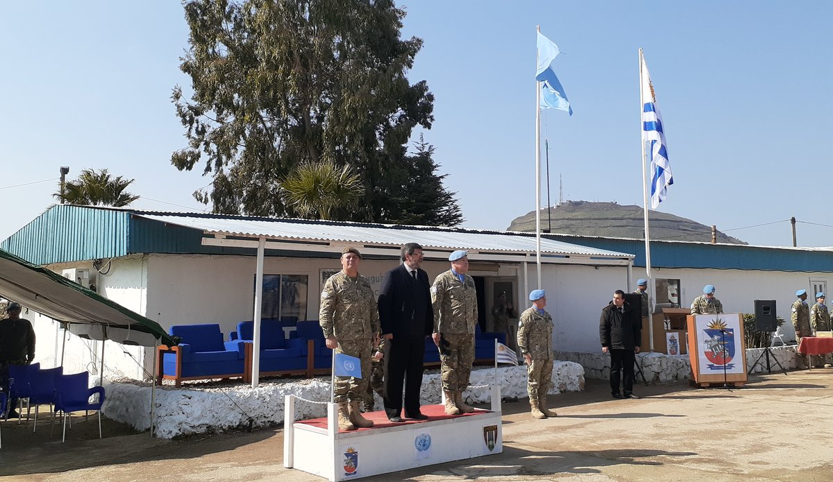 General Feola Paz Uruguay, Deputy Defence Minister Uruguay Mr. A Berterreche Alverez and UMIC CO Lt Col Ramon Ramirez attending the UMIC Medal Parade