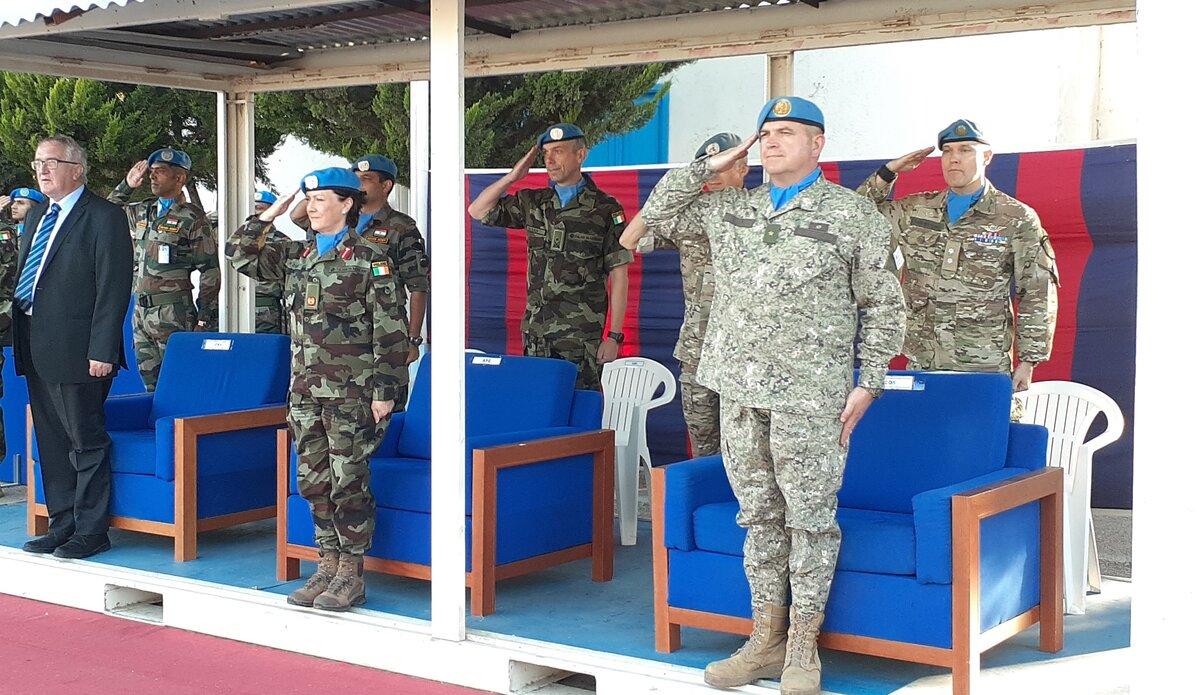 A/FC Brig. Gen. Maureen O'Brien, CMS Mr. Bernard Lee and COS Col. Martin Alvarez saluting the Parade.