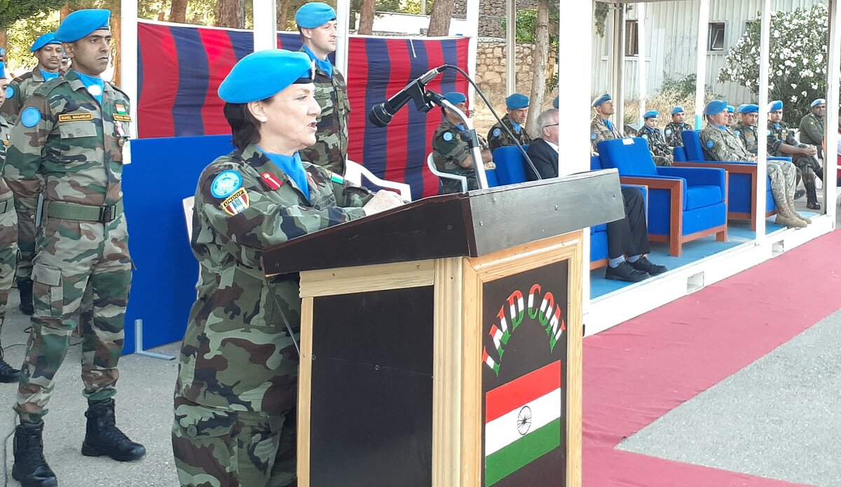 A/FC UNDOF Brig Gen Maureen O'Brien congratulating and Thanking INDCON for their hard work and dedication.
