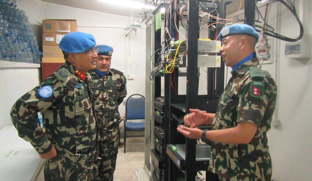 HoM/FC Major General Ishwar Hamal with CO NEPCON-VIII  Lt Col Madan Neupane in Hermon Hotel.