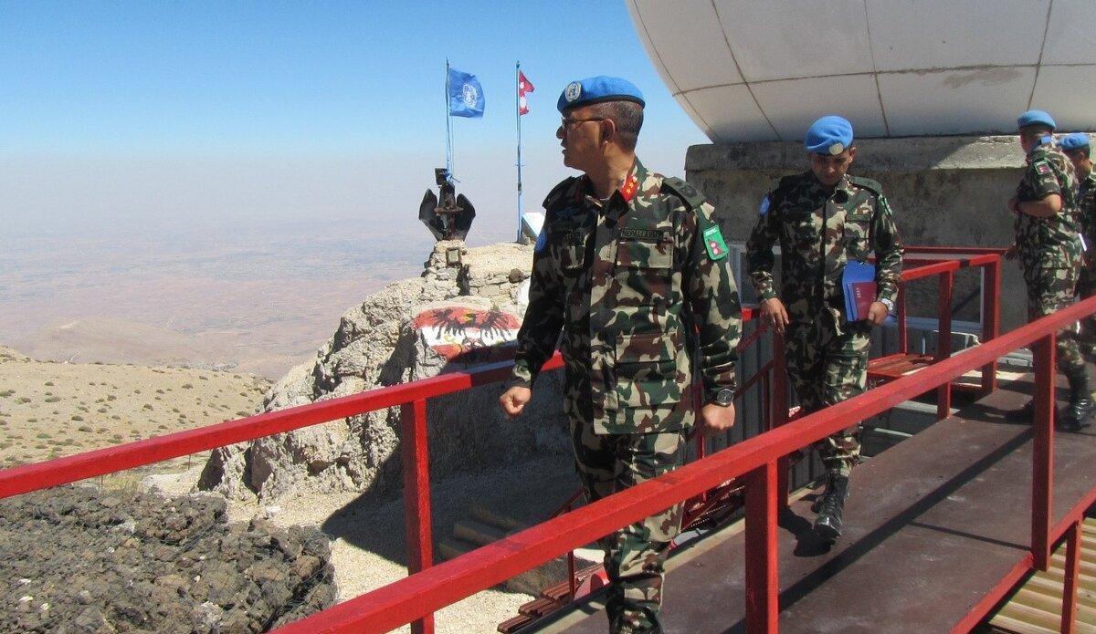 HoM/FC Major General Ishwar Hamal Observing AOR from Hermon Hotel.