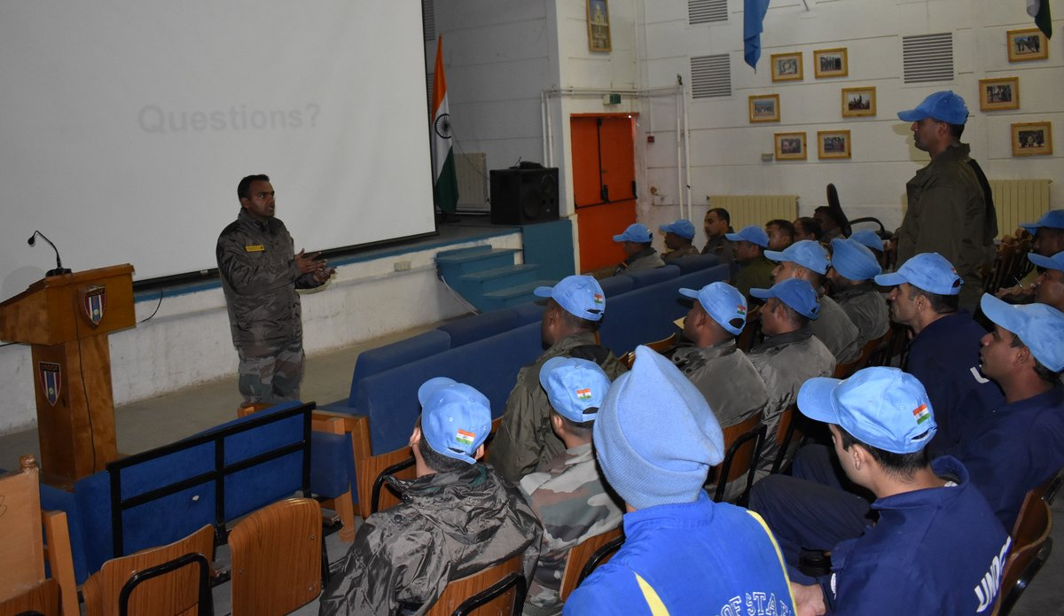 MO INDCON, UNDOF, Maj Kalyan KUMAR taking COVID-19 awareness classes to Indian Troops on 6th Mar 2020.