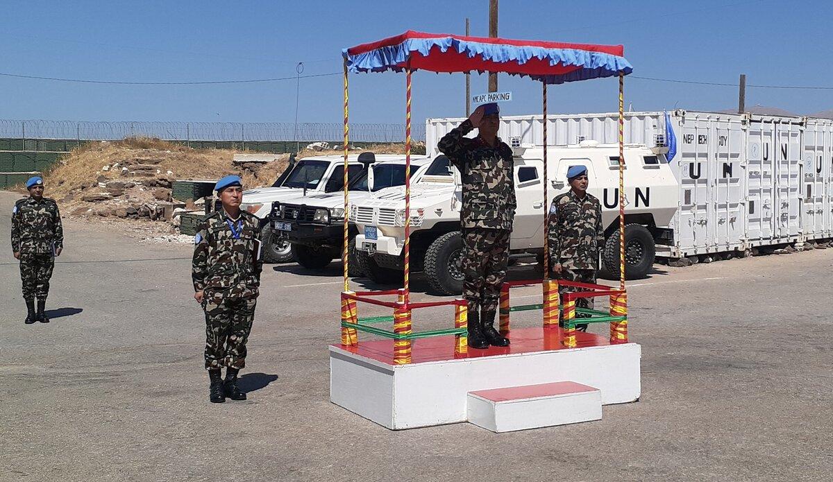 HoM/FC Maj Gen Ishwar Hamal Saluting the Honor Guard.