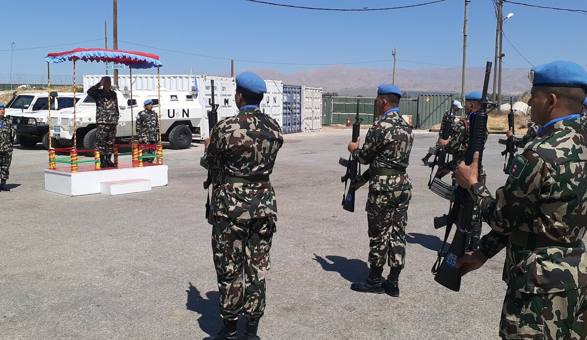 NMC Troops providing Guard of Honor th HoM/FC Maj Gen Ishwar Hamal.