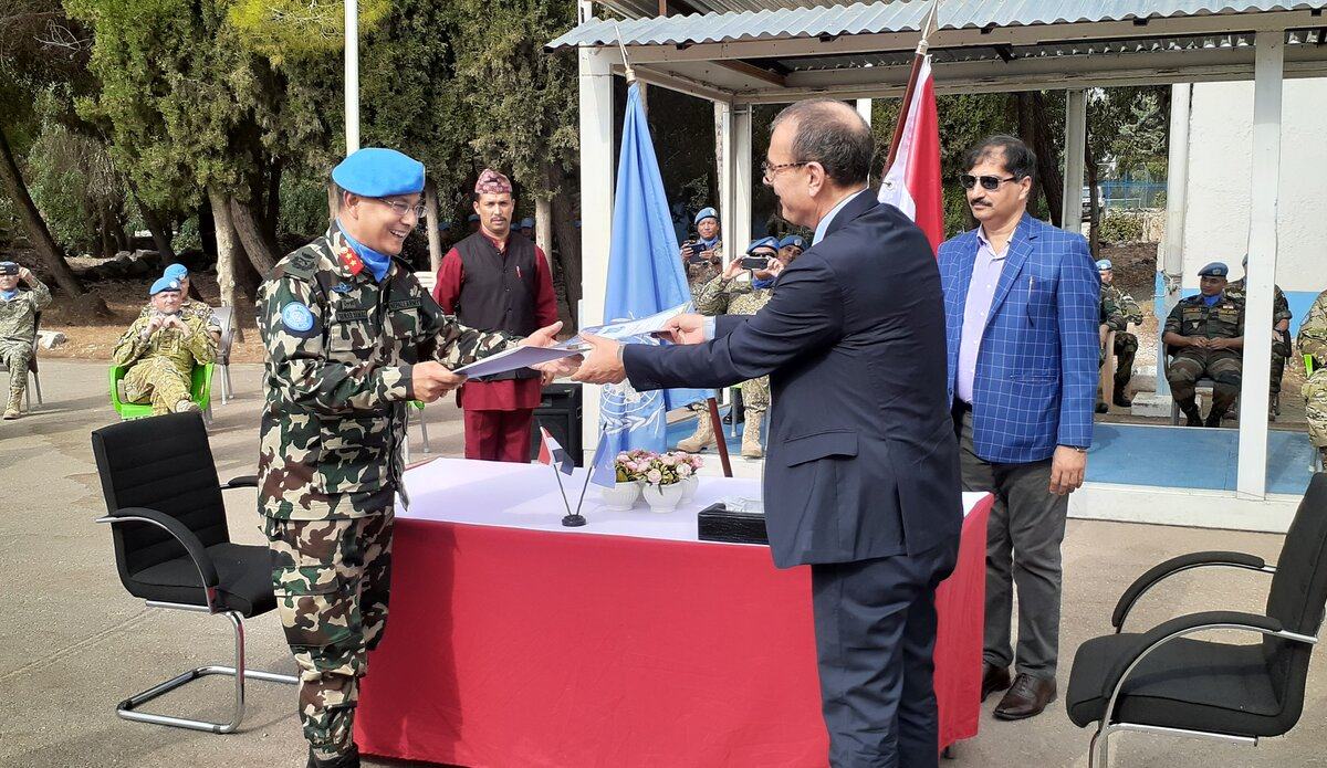 Handover Takeover between the New HoM & FC Maj Gen Ishwar Hamal and A/HoM Mr. Amedeo Micelli