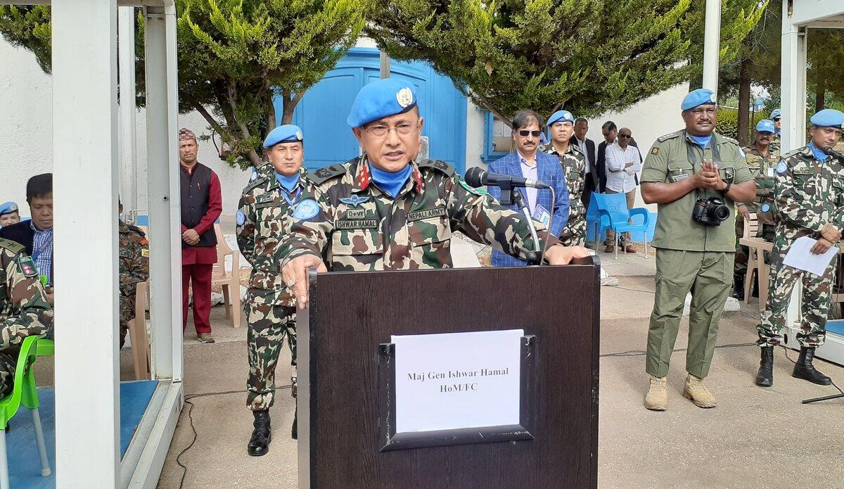 HoM & FC Maj Gen Ishwar Hamal Addressing the Parade.