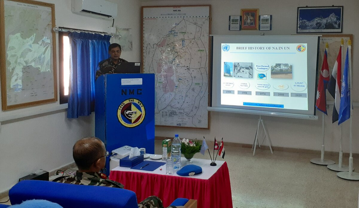 Briefing by CO NMC Lt Col Jayson Shamsher J.B.Rana on Operational and Logistics aspect.