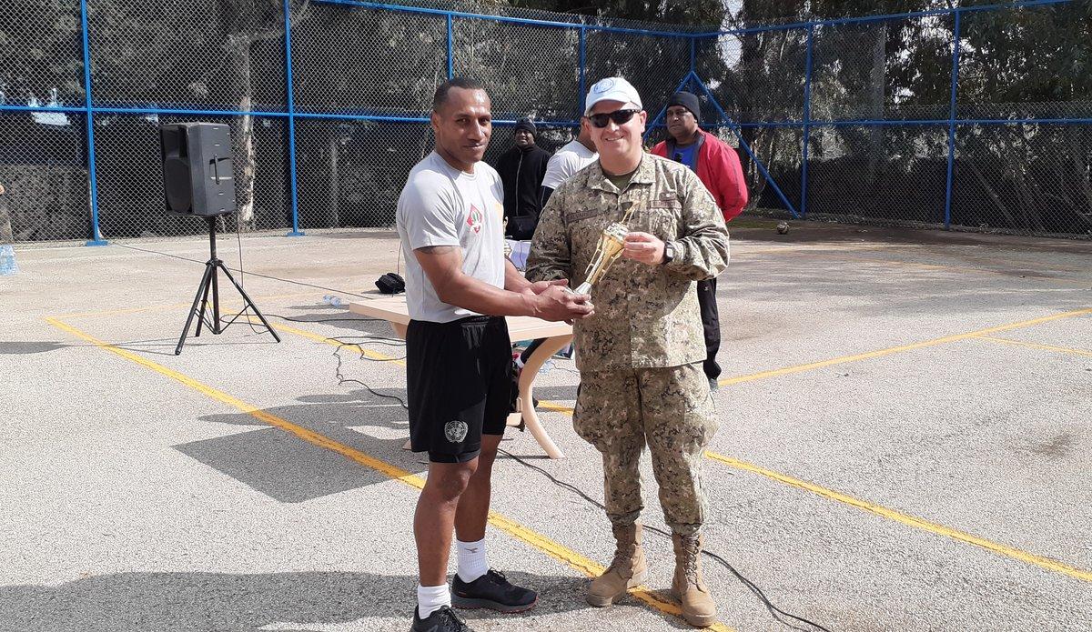 Pte Vasuka from Fiji Batt receiving the Best player Trophy from COS Col Martin Alvarez UNDOF