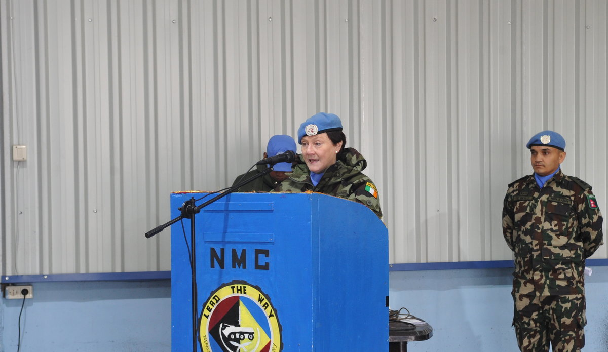 A/FC BRIG GEN MAUREEN O'BRIEN EXTENDING FAREWELL WORDS TO LT COL AMAR SINGH THAPA