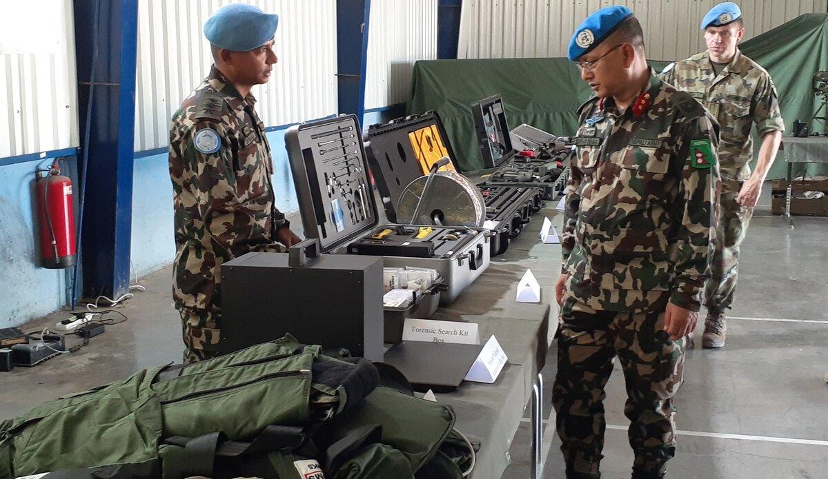 HoM/FC Maj Gen Ishwar Hamal Inspecting NMC Equipments.
