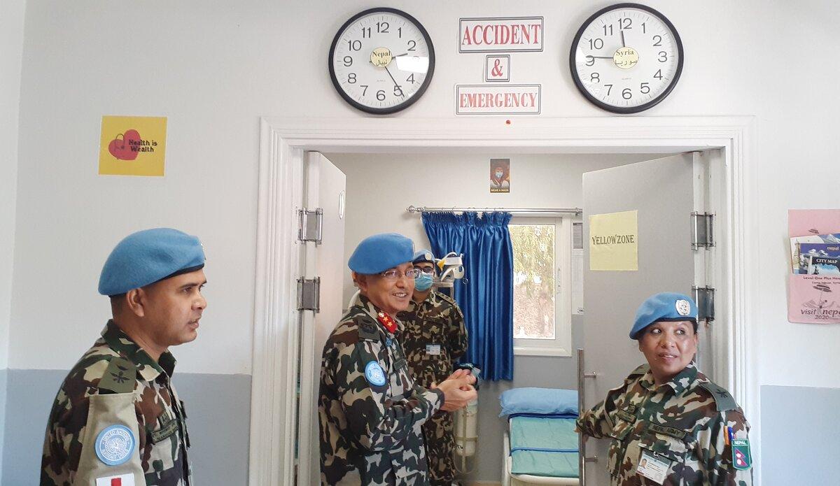 HoM/FC Major General Ishwar Hamal visiting the Accident and Emergency, Level One PLus Hospital, UNDOF