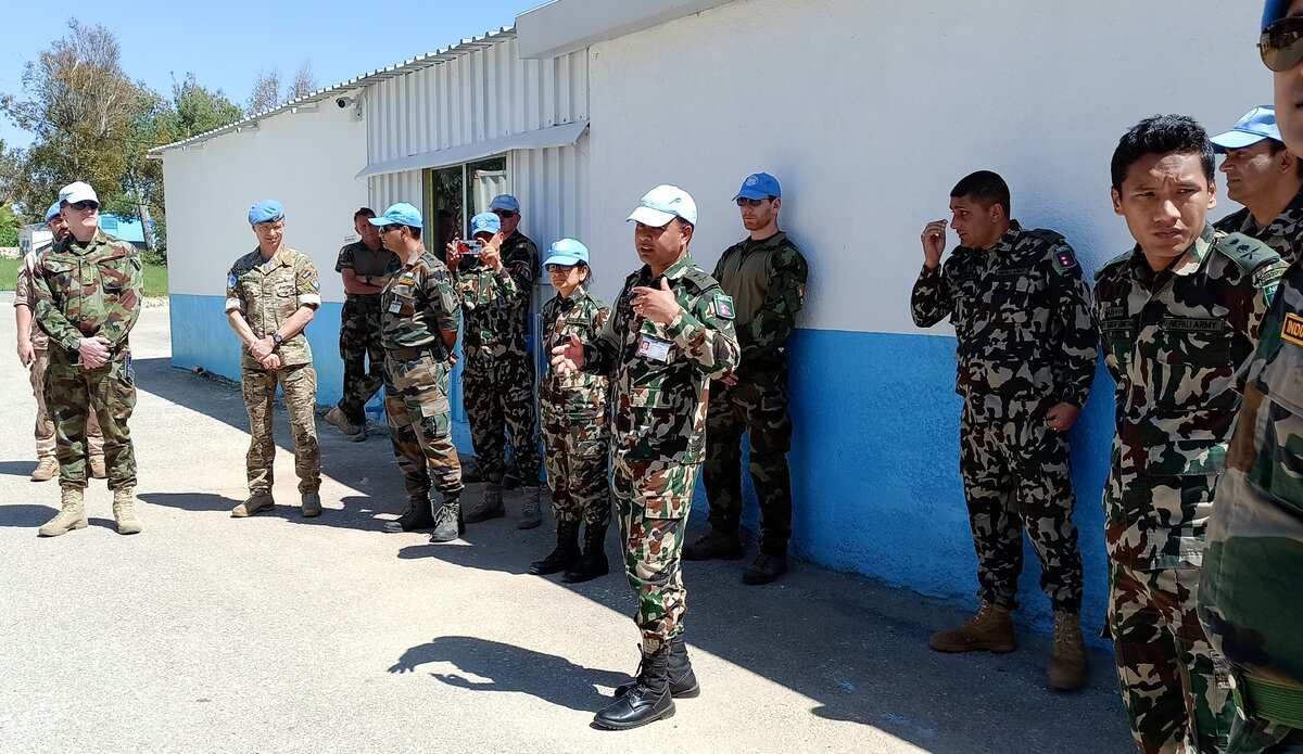 Briefing by OC, Level One Plus Hospital, Lt. Col. Dr. Narayan Thapa