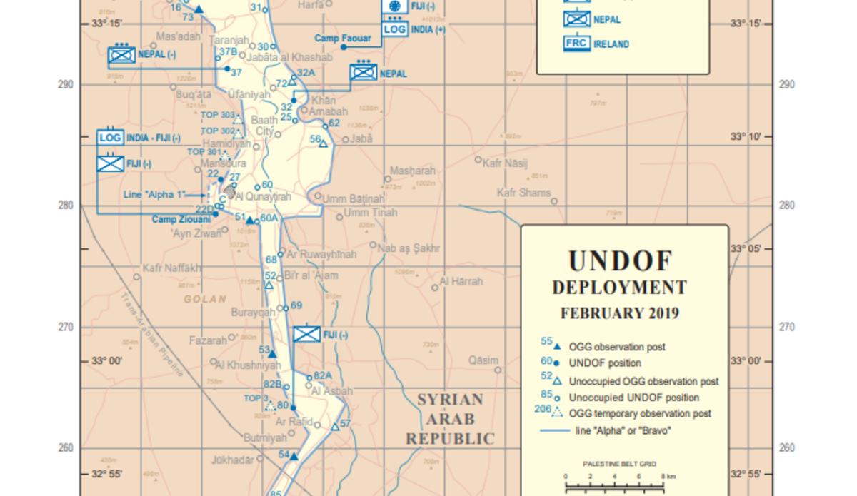 UNDOF Deployment Map February 2019