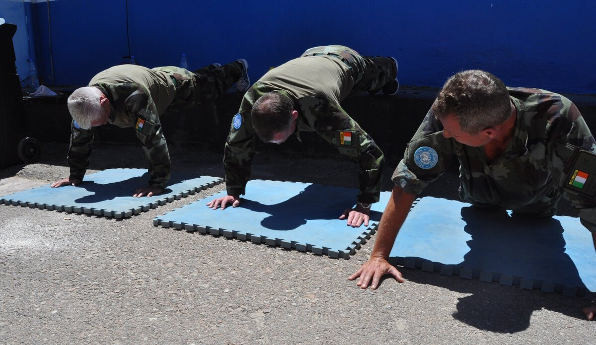 The overs 50s veteran team competing in the Press Up Challenge