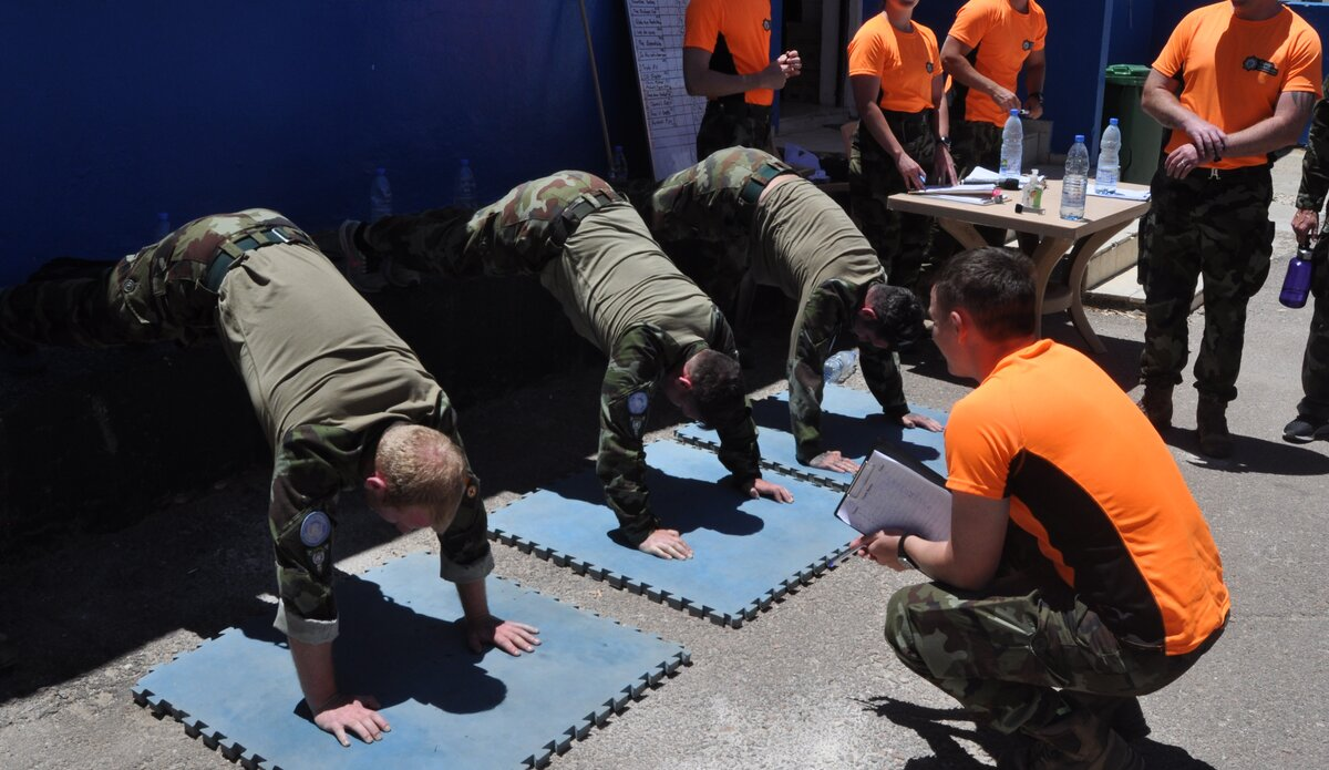 The winning Team taking part in the Press Up Challenge