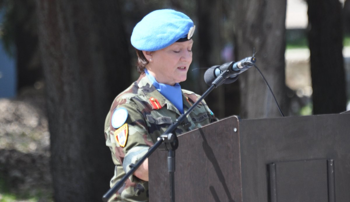 A/FC UNDOF Brig Gen M O Brien addresses the parade