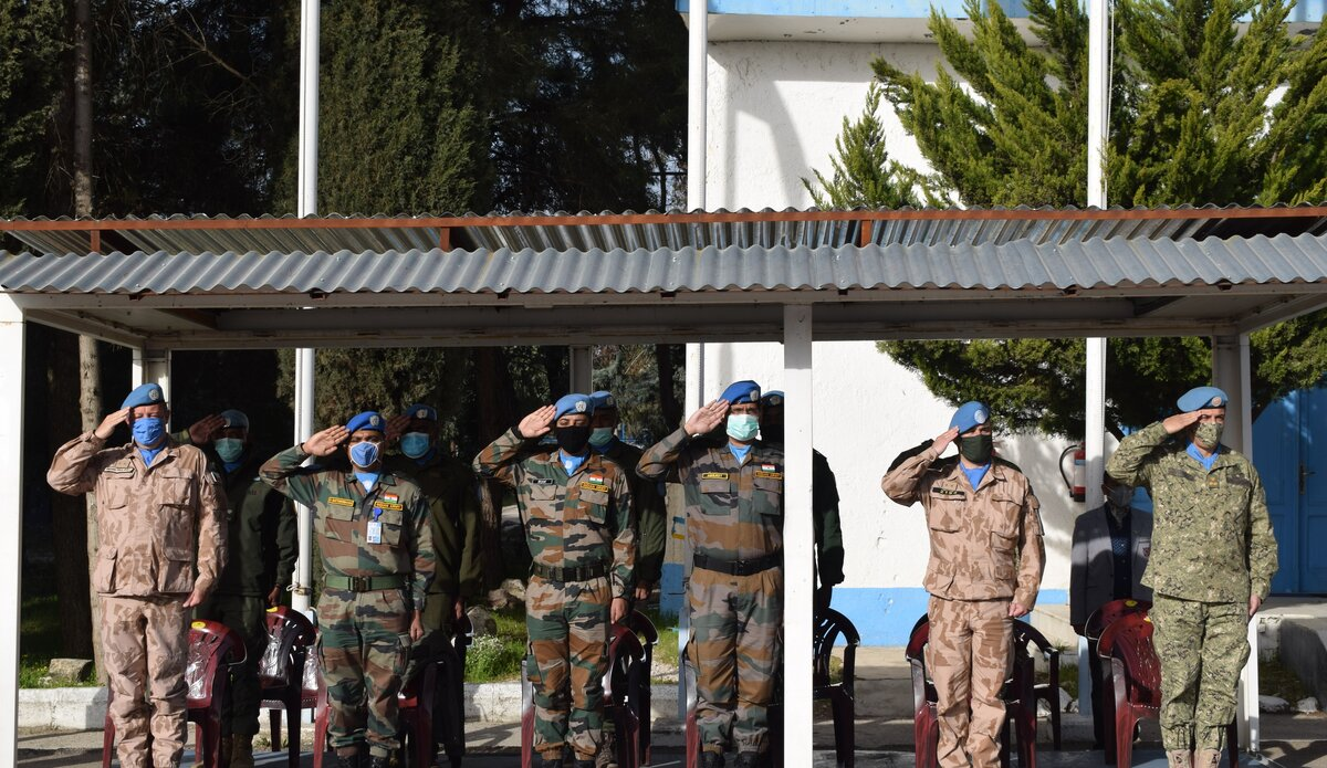 Staff Officers along with Branch heads of UNDOF mission paying tributes to Martyrs