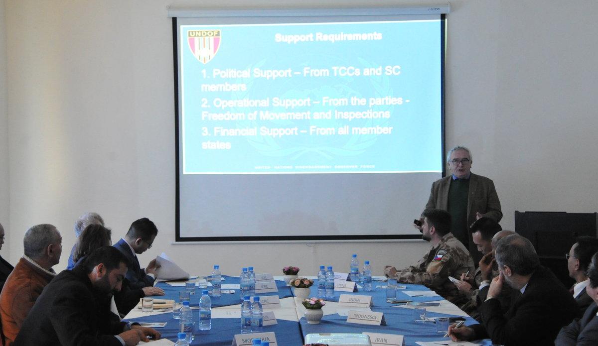 Mr Bernard Lee CMS and A/HoM UNDOF addresses delegates at Diplomats Day 2020