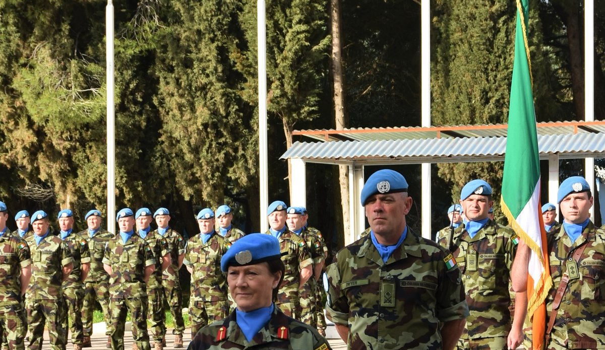 A/FC UNDOF Brig Gen M.O Brien and Lt Col Oliver Dwyer during the parade.