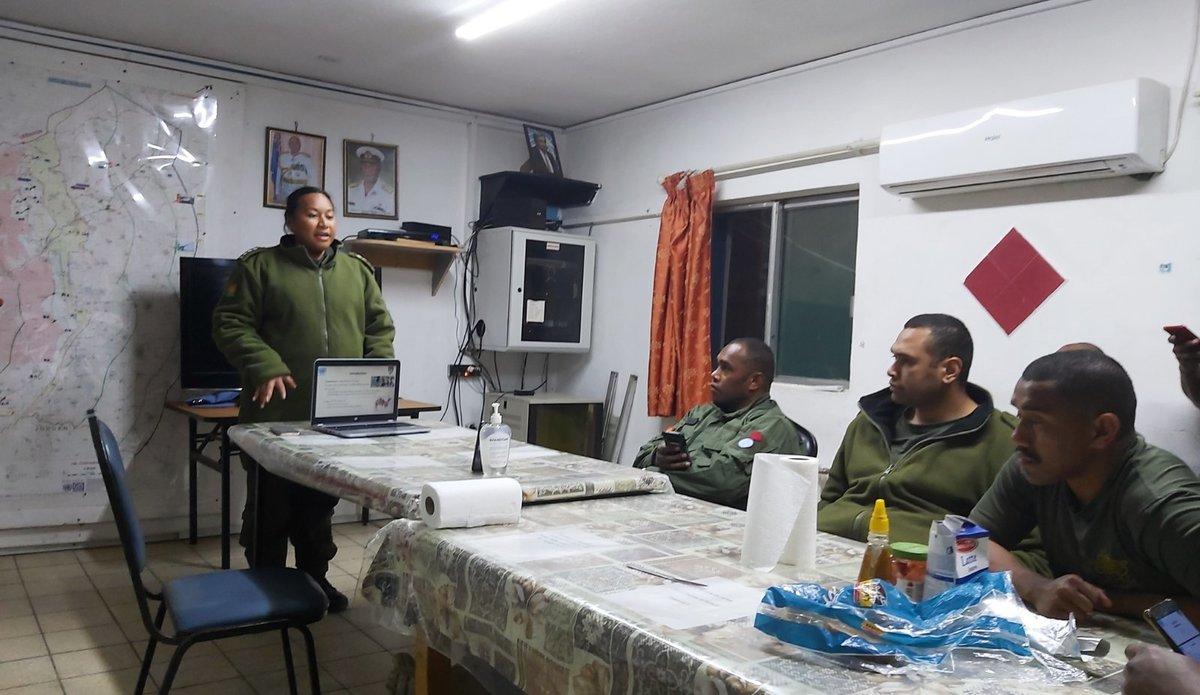 MO FIJIBATT, UNDOF, Capt Sisiana RATUKI conducting COVID-19 awareness classes in Camp Ziouani on 6th Mar 2020
