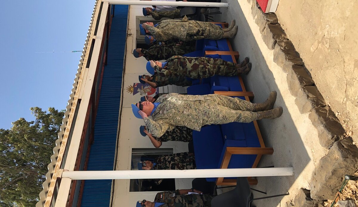 Chief of Staff UNDOF and A/FC UNDOF Salute during the Uruguayan National Anthem