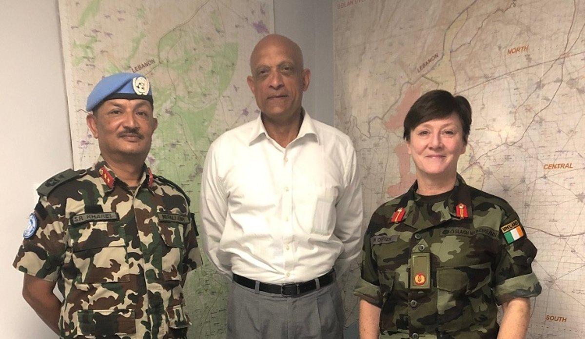 Maj Gen Shivaram Karil HoM/FC UNDOF and DFC UNDOF Brig Gen Maureen O Brien welcome Rtd Maj Gen Jai Menon to UNDOF on his Official visit