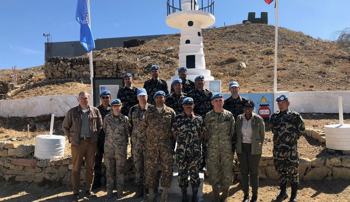 The MCS Group with HoM and FC on Hermon Base during their Visit to UNDOF