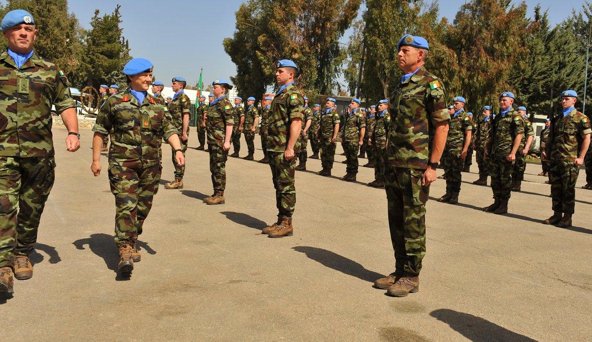 A/FC UNDOF Brig Gen M O  Brien inspects the parade from Irish Contingent