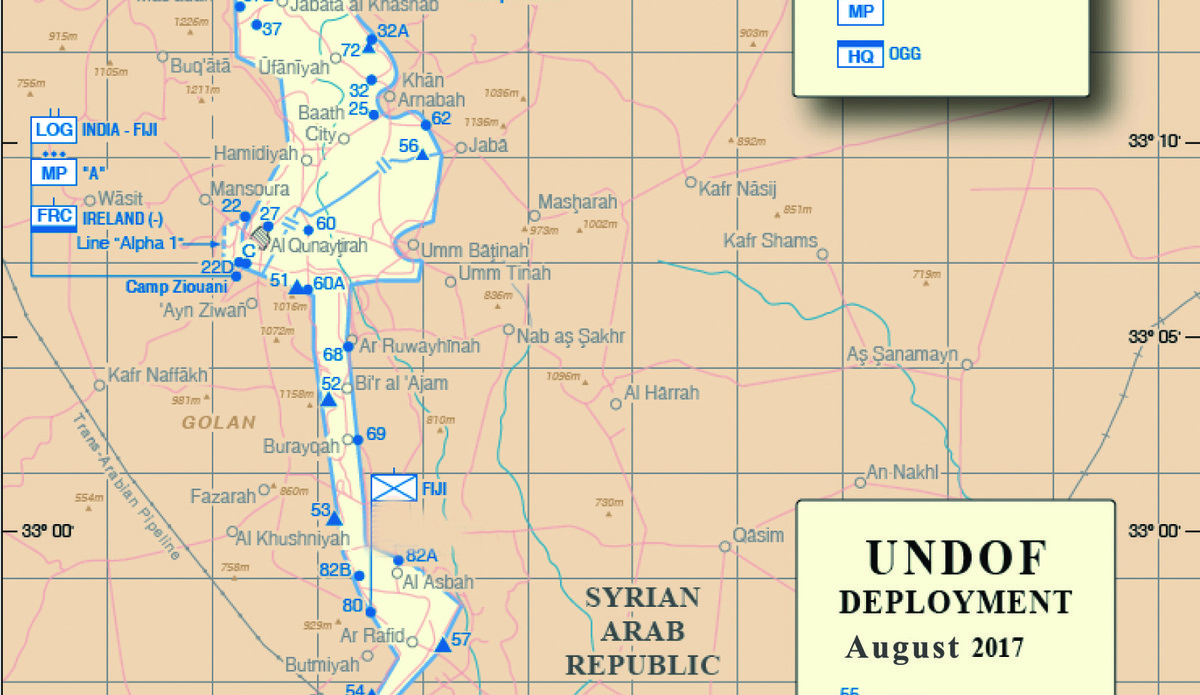 UNDOF Deployment Map August 2017