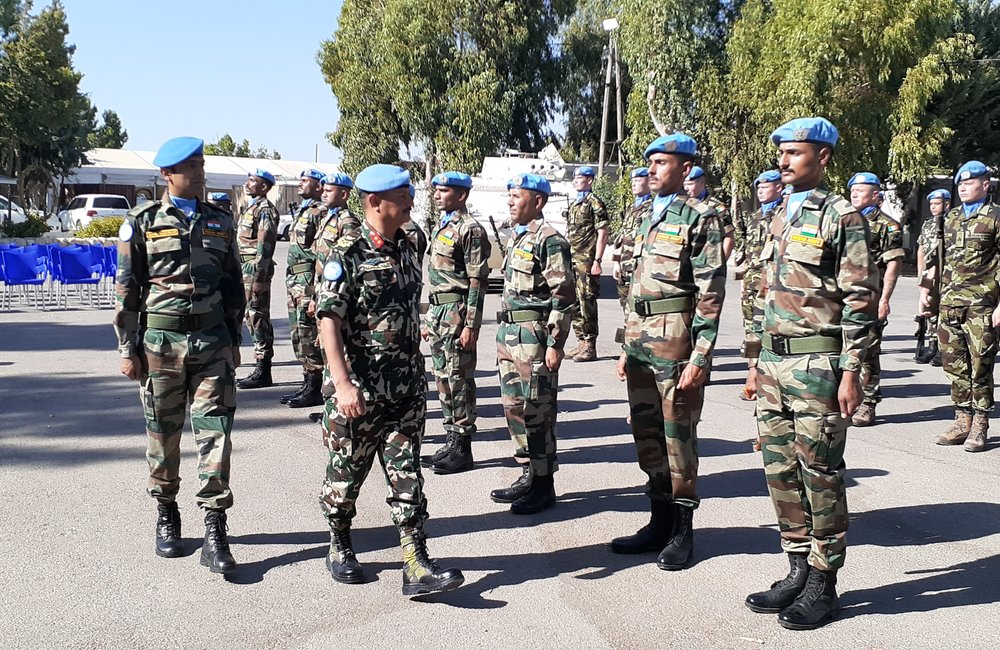 HoM and FC Inspects the Guard Of Honour drawn up of UNDOF Troops from India , Ireland and Nepal