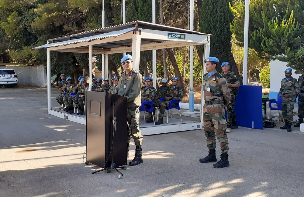 DFC Brig Gen Kuldip Pattok addresses the Parade on the occasion of his Stand Down from UNDOF