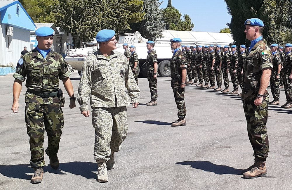 Chief of Staff UNDOF Col Luis E Coitino and Lt Col Luis Flynn Inspect the 59th Inf Gp Irish Contingent UNDOF.