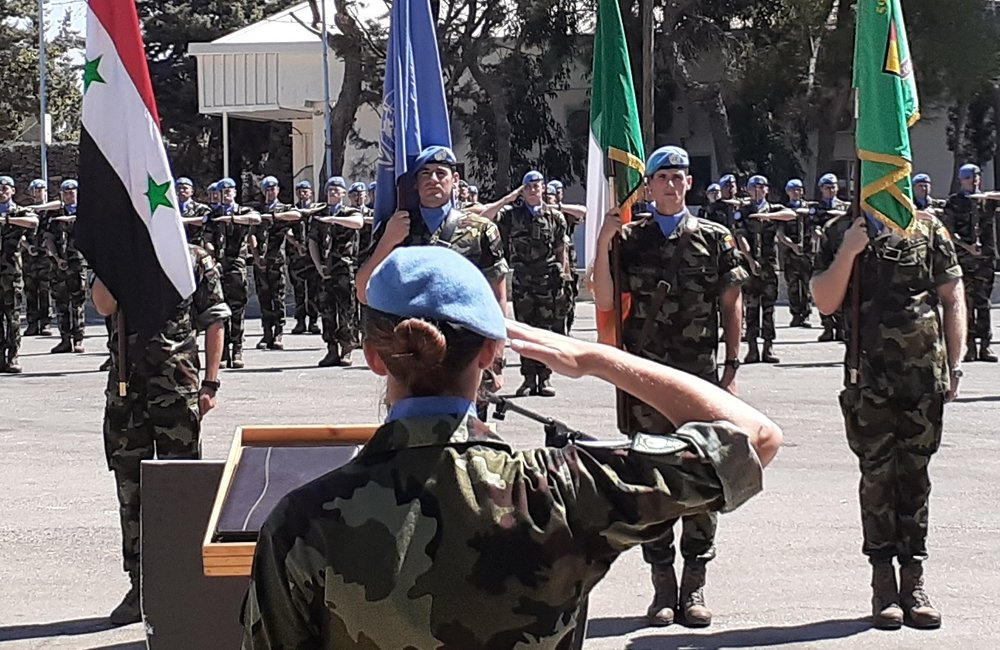 59th Inf Gp Irish Contingent UNDOF render the the General Salute prior to the Medal Parade.