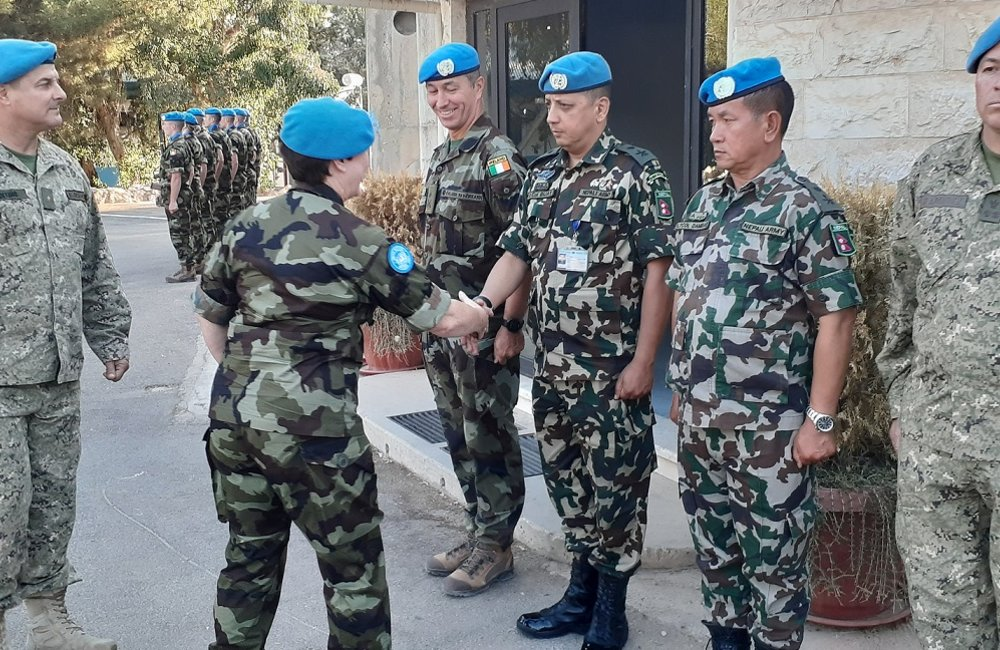 Brig Gen O Brien meets the Contingent Commanders of UNDOF on her arrival in Camp Faouar.