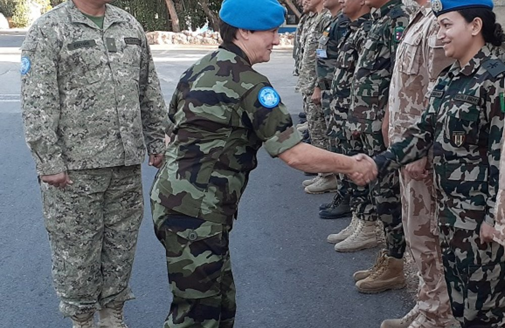 Brig Gen O Brien meets Section Chiefs and Staff Officers from UNDOF HQ on her arrival in Camp Faouar.