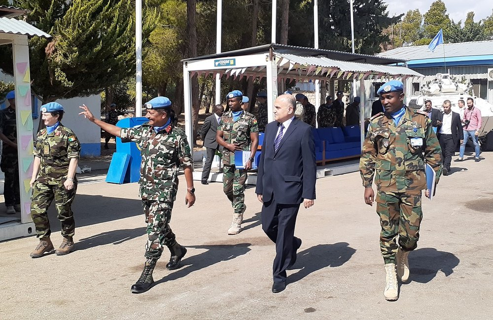 Maj Gen Shivaram Khril bids farewell to UNDOF Staff at his Stand down Parade