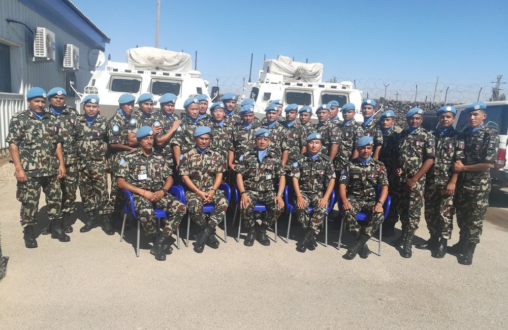 Lt Col Bijaya K.C. with Troops from NMC who recieved the UNDOF Peacekeepers Medal.